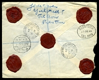 Lot 23326 [2 of 2]:1936 use of 20m olive & 15m blue, very lightly cancelled, on registered, insured cover to the Haag, Netherlands, bearing blue 'Tel-Aviv 1' registration label & 'INSURED/(VALEUR DÉCLARÉE)' label in black on red, backstamped with 'TEL-AVIV. ALLENBY ROAD.B.C./B/23DE/36/+' (A1), oval 'REGISTERED/23DE36/TEL AVIV' (A1) & bilingual '/25DE36.6P/CAIRO/CASH' (A1-), little bit of toning here & there, torn open at left.