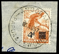 Lot 26631:Angoram: 'ANGORAM/?5AU57/PAPUA & NEW GUINEA', on 4d opt. [In use from 12/1/57 - 5/12/60]  PO 10/10/1946.