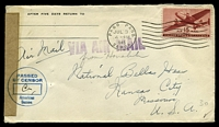 Lot 4539:1945 use of US 15c brownish red air, cancelled with 'PAGO PAGO/JUL3/4PM/1945/SAMOA' (A1) machine, on plain cover to Kansas City, Missouri, by airmail, sealed at left with plain brown tape & circular 'PASSED/BY CENSOR/American/Samoa' (A1) in blue.
