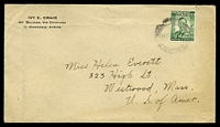 Lot 4182:1940's use of ½d green KGVI, cancelled with poor double-circle Mount Silinda, on Ivy Craig, Mt. Silinda cover to Westwood, Massachusetts.