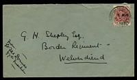 Lot 4356:1901: use of 1d ERI opt, cancelled with double-circle 'FIELD POST OFFICE B.O./7/NO14/01/BRITISH ARMY S. AFRIC