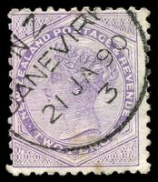 Lot 4104:Danevirk: type A 'N.Z/[D]ANEVIR[K]/21JA90/3' on 2d mauve, slight toned spot at base. [Rated 6]  PO 1/2/1875; renamed Danevirke PO 1/10/1886.