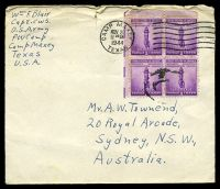 Lot 4542:1944 use of 3c defence block of 4, cancelled with 'CAMP MAXEY/NOV20/1130AM/1944/TEXAS' (A1) machine, on plain cover from Prisoner of War camp to Sydney, NSW, some toning around stamps, top edge rough with central short closed tear.