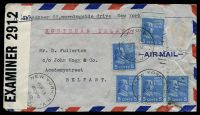 Lot 26344:1942 use of 5c blue Monroe x5, with 1 missing stamp, cancelled with 'NEW YORK. N.Y./JUN19/830PM/1942/STA. J. - J' duplex, on airmail cover to Belfast, Ireland, sealed with '51-929-W.&S./P.C.90/OPENED BY/EXAMINER 2912' tape at left, some creasing.