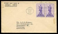 Lot 26292:1937 Hawaii Sc #799 3c purple pair, on plain cover with neat typed address, cancelled with Honolulu FDoI machine, hinged.