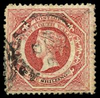 Lot 5716:1860-72 Diadems Wmk Double-Lined Numeral Perf 12 SG #153 1/- rose-carmine, Cat £48.