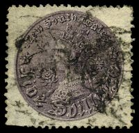Lot 5728:1861-88 Coin SG #174a 5/- dull violet, P13, Cat £35, trimmed perfs at BLC.