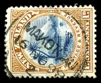 Lot 4249:Makotuku: type A 'N.Z/MAKOTUKU/16NO98/2' on 1d blue & brown. [Rated 5]  PO 1/1/1892; closed 29/11/1979.