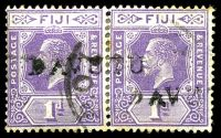 Lot 21738:Davutu: straight-line 'DAVUTU', on 1d violet KGV pair, hinge reinforced join, some toning around edges. [Rated 60 by Proud]  PO 1/3/1915; closed 20/10/1938.