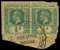 Lot 22888:Abaiang: '[GILB]ERT AND ELLICE ISLANDS/POST OFFICE/ABAIANG/[COLONY]', on ½d green KGV pair, small toned spot.  PO c.1910.