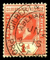 Lot 3647:Abemama: double-circle 'GILBERT &[ELLICE ISLANDS]/ABEMAM[A ISLAND]/JN2[?]/18/POST O[FFICE]/PROT[ECTORATE]' on 1d red KGV.  PO c.1910.