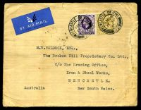 Lot 3686 [1 of 2]:1935 use of 1/- bistre-brown & 3d violet, cancelled with double-circle 'NEWCASTLE·ON·TYNE/630PM/13SP/35/22' (A1), on plain cover by airmail to Newcastle, NSW, backstamped with 'MELBOURNE/15/1145A28SE35/VIC.' indicating incorrect sorting at Darwin on arrival, some edge wear at right.