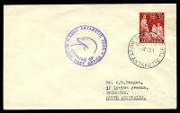 Lot 19808:Wilkes: 'WILKES/A.N.A.R.E/1FE59/AUST. ANTARCTIC TERR.' on plain cover with 3½d red Christmas, also bearing 'AUST. ANTARCTIC TERR./[seal]/OPENING OF/WILKES POST OFFICE' (A1) cachet in purple.