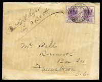 Lot 4218:1900: use of 1d VRI opt pair, right unit showing Thick V, cancelled with doubled 'ARMY P.O. 45/SP4/00/S.AFRICA' (C1), on plain cover from Queenstown Volunteer Rifles to Queenstown, Cape Colony, backflap bears a military seal with legend 'TEMBULAND 1877·8 MOIROSI 1880·81' for the 9th Xhosa War & Gun War (Basutoland) respectively, generalised toning.