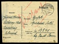 Lot 3622:1943 use of Feldpost lettersheet, cancelled with double-circle 'SULZBERG/15VI43/b', to FP L-13591, some light toning.