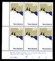Lot 26229:1970-76 Definitives SG #931 30c Mt Cook National Park, P13¼x13½, BLC block of 6 with Bradbury, Wilkinson imprint & plate numbers '1111', C&P #P18a, Cat NZ$30.
