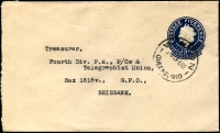 Lot 865:1959-60 5d Dark Blue QEII Small Die BW #EP58 on buff, cancelled with 'WINTON/?A12FE60/QUEENSLAND' (A1-)