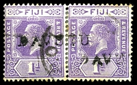 Lot 21292:Davutu: straight-line 'DAVUTU', on 1d violet KGV pair, hinge reinforced join, some toning around edges. [Rated 60 by Proud]  PO 1/3/1915; closed 20/10/1938.