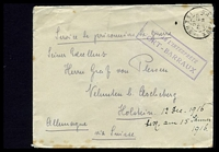 "Lot 18864:1916 use of stampless envelope endorsed ""Service de prisionniers de guerre"", cancelled with double-circle 'BARRAUX/8?/23-12/16/ISERE', to Holstein, Germany, with boxed 'AU PAR L'INTERPRÈTE/F"