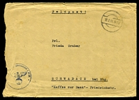 "Lot 4086:1941 use of stampless envelope endorsed ""Feldpost!"", cancelled with dumb double-circle of 19.2.41, to Schwabach, also bearing partial Feldpost handstamp for L-03171 (3rd Wing, 53 (Legion Condor) 2nd Air Corps - Air Fleet 2), torn down left edge."