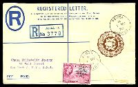 Lot 3533 [1 of 2]:1958 HG #C-2 6d brown registered letter envelope, uprated with 2d pink Independence opt, cancelled with 'ACCRA/*/1MY/58/GHANA' (A1), with blue registration label, to Ghana Philatelic Agency, New York.