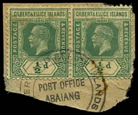 Lot 19979:Abaiang: '[GILB]ERT AND ELLICE ISLANDS/POST OFFICE/ABAIANG/[COLONY]', on ½d green KGV pair, small toned spot.  PO c.1910.