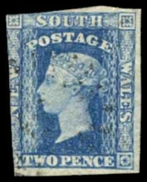 Lot 665:1856-60 Imperf Small Diadems Recess Wmk Double-Lined Numeral SG #112 2d blue, Cat £10, 2 margins.