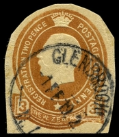 Lot 4447:Glenbrook: type J 'GLENBROOK/1FE19 2/N.I', on 3d brown registration envelope cut-out, small closed tear at BRC. [Rated 6]  PO 16/11/1912; closed 30/4/1936.