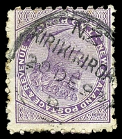 Lot 4014:Kirikiriroa: type A 'N.Z/KIRIKIRIROA/20DE93/D', on 2d mauve with brown 'FLAG/BRAND/SAUCE' on reverse. [Rated 6]  PO 1/3/1872; closed 28/1/1909.