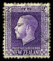 Lot 3993:1915-30 KGV Wmk Single NZ/Star SG #417a 2d bright violet, P14x14½, Cat £38, slight toning at left edge.