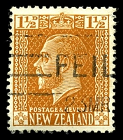 Lot 3967:1915-33 KGV Perf 14x15 SG #447a 1½d orange-brown, Wmk Single NZ/Star, thick, opaque paper & white gum, Cat £75.
