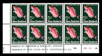 Lot 4463:1973-76 Definitives SG #1012 5c Scarlet Parrot Fish, BLC block of 10 with Harrison imprint & plate numbers '1A1A1A1A', C&P #P7b, Cat NZ$80.