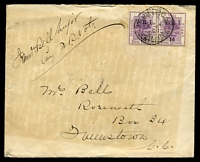 Lot 23947:1900: use of 1d VRI opt pair, right unit showing Thick V, cancelled with doubled 'ARMY P.O. 45/SP4/00/S.AFRICA' (C1), on plain cover from Queenstown Volunteer Rifles to Queenstown, Cape Colony, backflap bears a military seal with legend 'TEMBULAND 1877·8 MOIROSI 1880·81' for the 9th Xhosa War & Gun War (Basutoland) respectively, generalised toning.