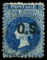 Lot 9027:1976-85 Bold 'OS' Wmk Broad Star Perf 11½-12½: 6d Prussian blue, SG #O25 some light toning.
