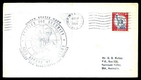 Lot 4761:1964 Arctic Operations 'UNITED STATES NAVY/SEALIFT FOR SECURITY/[ship]/1964 ARCTIC OPERATIONS/MILITARY SEA TRANSPORTATION SERVICE' (A1) cachet on plain cover to Fortitude Valley, Qld, franked with 11c liberty & cancelled with 'U.S. ARMY AIRFORCE POSTAL SERVICE/AUG17/AM/1964/APO 121' (B1), some light toning.