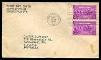 Lot 26025:1937 Constitution Sc #798 3c pair, on plain cover with neat typed address, cancelled with Philadelphia FDoI machine, hinged.