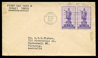Lot 26026:1937 Hawaii Sc #799 3c purple pair, on plain cover with neat typed address, cancelled with Honolulu FDoI machine, hinged.