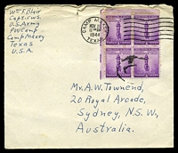 Lot 28967:1944 use of 3c defence block of 4, cancelled with 'CAMP MAXEY/NOV20/1130AM/1944/TEXAS' (A1) machine, on plain cover from Prisoner of War camp to Sydney, NSW, some toning around stamps, top edge rough with central short closed tear.