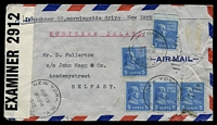 Lot 4760:1942 use of 5c blue Monroe x5, with 1 missing stamp, cancelled with 'NEW YORK. N.Y./JUN19/830PM/1942/STA. J. - J' duplex, on airmail cover to Belfast, Ireland, sealed with '51-929-W.&S./P.C.90/OPENED BY/EXAMINER 2912' tape at left, some creasing.