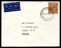 Lot 5276:1938 use of 5d KGV, cancelled with 'SHIP MAIL ROOM/545P 3AU38/MELBOURNE' (B1), on plain cover by airmail to London, GB. [5d Airmail rate to British Empire valid from 1st Aug 1938 to September 1939]