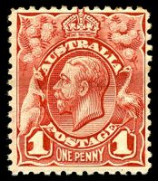 Lot 1047:BW #59 1d red, with Broken BLC, Cat $35, light horizontal crease, some slight toning to TRC.