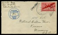 Lot 27847:1944 use of USA 6c red Airmail, cancelled with 'PAGO PAGO/OCT25/9AM/1944/SAMOA - 4' (B1), on plain cover to Kansas, Missouri, with circled 'PASSED/BY CENSOR/[initials]/American/Samoa', staple hole.