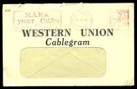 Lot 23361:1943 use of Western Union Cablegram window envelope, cancelled with London Meter N1 of 16 V 43, with enclosed Cablegram bearing octagonal 'PASSED/BY/CENSOR/[crown]/No/2397', envelope has several small closed tears at top edge.