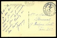 "Lot 485 [2 of 2]:France: sepia PPC of 'BOULOGNE-SUR-MER./Place Godefroy de Boulogne st la Mairie', endorsed ""FM"", cancelled with double-circle 'MARINE NATIONALE/[anchor]/SERVICE A LA MER' (A2-) in black & 'BOU[LOGNE-SUR-ME]R/14"