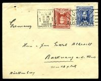 Lot 5270 [1 of 2]:1932 use of 3d blue & 1½d red Sturt, cancelled with 'SYDNEY/N.S.W/11AM/1/11OCT/1/1932/POSTED/OVERSEA BOX - VISI