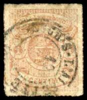 Lot 25336:1865-75 Rouletted Arms SG #22 1c brown-orange, Cat £55, thin at TRC, some toning.