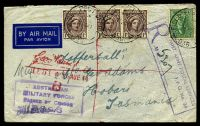 Lot 5575 [1 of 2]:Field Post Office 'FIELD POST OFFICE/10AU44/036.' (Ravenshoe, Qld), cancelling 4d Koala & 1d purple-brown QE x3 on plain air cover to Tatts, bearing boxed 'R/AUST. ARMY POSTAL SERVICES/F.P.O. No. 36/NO...' (A2+) in purple & boxed 'AUSTRALIAN/MILITARY FORCES/PASSED BY CENSOR/3996' (A1-) in purple, mild creasing. [Rated 80 by Proud]