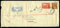 Lot 5272:1937 use of 5d yellow-brown KGV & 2d scarlet NSW Sesqui, cancelled with Sydney Registered of 16OC37, on long cover to Queanbeyan, NSW, with blue C6 'Sydney B' registration label, some edge wear & toning around 2d stamp.