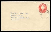 Lot 4212:1966-78 QEII Embossed ASC #E48a 6c red on buff, Post Office Preferred logo, cancelled with poor undated Leigh Creek to Hawthorn, Vic.