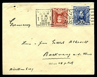 Lot 797 [1 of 2]:1932 use of 3d blue & 1½d red Sturt, cancelled with 'SYDNEY/N.S.W/11AM/1/11OCT/1/1932/POSTED/OVERSEA BOX - VISI
